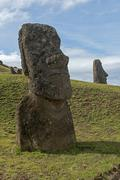 Group of Moai statues Rano Raraku Easter Island Chile South America Stock Photos