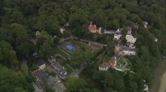 AERIAL United Kingdom-Portmeirion Approach And Unique Village - stock footage