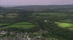 AERIAL United Kingdom-Cilgerran Castle Stock Footage