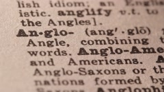 Anglo - Fake dictionary definition of the word with pencil underline Stock Footage