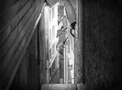 Narrow street in Bergen Norway Stock Photos