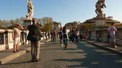 Ponte Sant Angelo in Rome Stock Footage