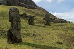 Group of Moai statues Rano Raraku Easter Island Chile South America Stock Photos