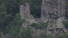 AERIAL Germany-Drachenfels Castle Stock Footage