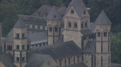 AERIAL Germany-Maria Laach Abbey Stock Footage