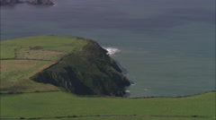 AERIAL United Kingdom-Coast Near Porthgain Stock Footage