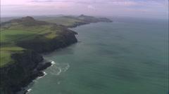 AERIAL United Kingdom-Coast Around Abereiddi Bay Stock Footage