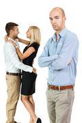 young man unhappy jealous couple behind - stock photo