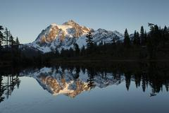Picture Lake and Mount Shuksan in the Northern Cascades Rockport Washington - stock photo
