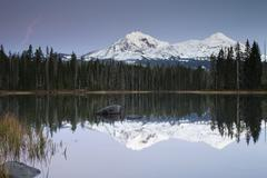 Stock Photo of Scott Lake with Three Sisters Eugene Oregon United States North America
