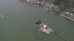 AERIAL Germany-Pfalzgrafenstein Castle Stock Footage