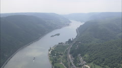 AERIAL Germany-The Rhein Approaching Trectingshausen Stock Footage