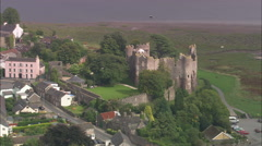 AERIAL United Kingdom-Laugharne Castle And Dylan Thomas's Boathouse Home Stock Footage