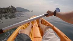Young man kayaking in the sea in beautiful sunny day. point of view. Stock Footage