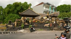 Water temple, Pura tirta at Gunung Soputan street Stock Footage