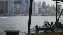 Rack focus ferry view to Hong Kong island 4K Stock Footage