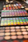 make up palette colorfull closeup - stock photo