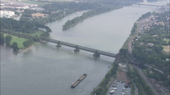 AERIAL Germany-Trains Passing At South Bridge Stock Footage