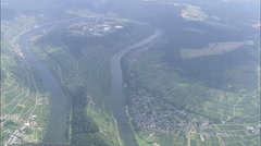 AERIAL Germany-Bends In The Mosel River - stock footage