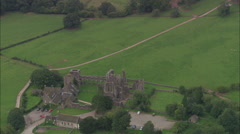 AERIAL United Kingdom-Llanthony Abbey Stock Footage