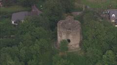 AERIAL United Kingdom-Longtown Castle Stock Footage