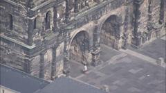 AERIAL Germany-Porta Nigra - Roman City Gate Stock Footage