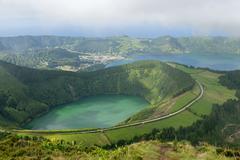 Lagoa do Canario and Lagoa Azul Caldeira das Sete Cidades Sao Miguel Azores - stock photo