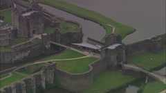 AERIAL United Kingdom-Caerphilly Castle Stock Footage