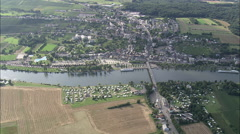AERIAL Germany-Crossing Border At Remich Stock Footage