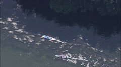 AERIAL Luxembourg-Canoeing On River Stock Footage