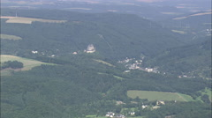 AERIAL Germany-Approaching Vianden Stock Footage