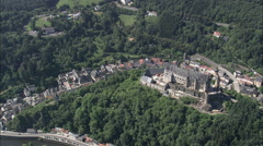 AERIAL Luxembourg-Vianden Castle And Village Stock Footage