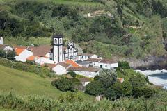 View of the village Porto Formoso Sao Miguel Azores Portugal Europe - stock photo