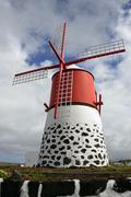Windmill Madalena do Pico Pico Island Azores Portugal Europe - stock photo