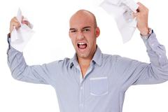 businessman angry expression paperwork isolated - stock photo