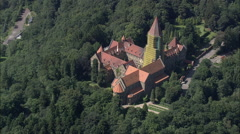 AERIAL Luxembourg-Clervaux Abbey Stock Footage