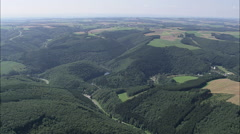AERIAL Luxembourg-Villages And Sure River Stock Footage