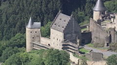 AERIAL Luxembourg-Chateau Du Bourscheid Castle Stock Footage
