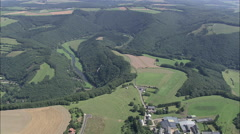 AERIAL Luxembourg-Transition Over Landscape And Sure River Stock Footage