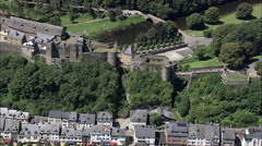 AERIAL Belgium-Chateau Fort De Bouillon Stock Footage
