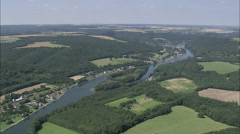 AERIAL Belgium-Villages By La Meuse River Stock Footage