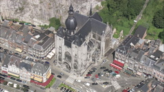 AERIAL Belgium-Dinant Castle Stock Footage