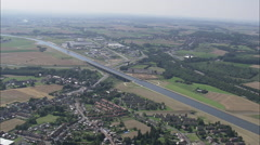 AERIAL Belgium-Canal Bridge Stock Footage