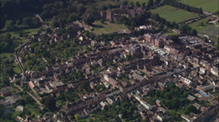 AERIAL United Kingdom-Ludlow And Medieval Grid Layout Stock Footage
