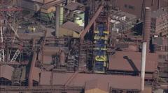 AERIAL Belgium-Charleroi Industrial Site Stock Footage