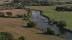 AERIAL United Kingdom-River Severn At Wroxeter Stock Footage