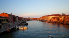 Stock Video Footage of Water taxi passing by in canal of Murano