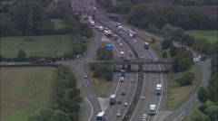AERIAL United Kingdom-Toddington Services On The M1 Stock Footage