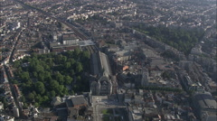 AERIAL Belgium-Central Station And Zoo Entrance Stock Footage