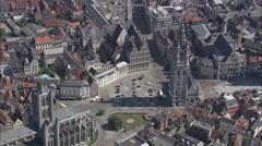 AERIAL Belgium-Belfry Of Ghent Stock Footage